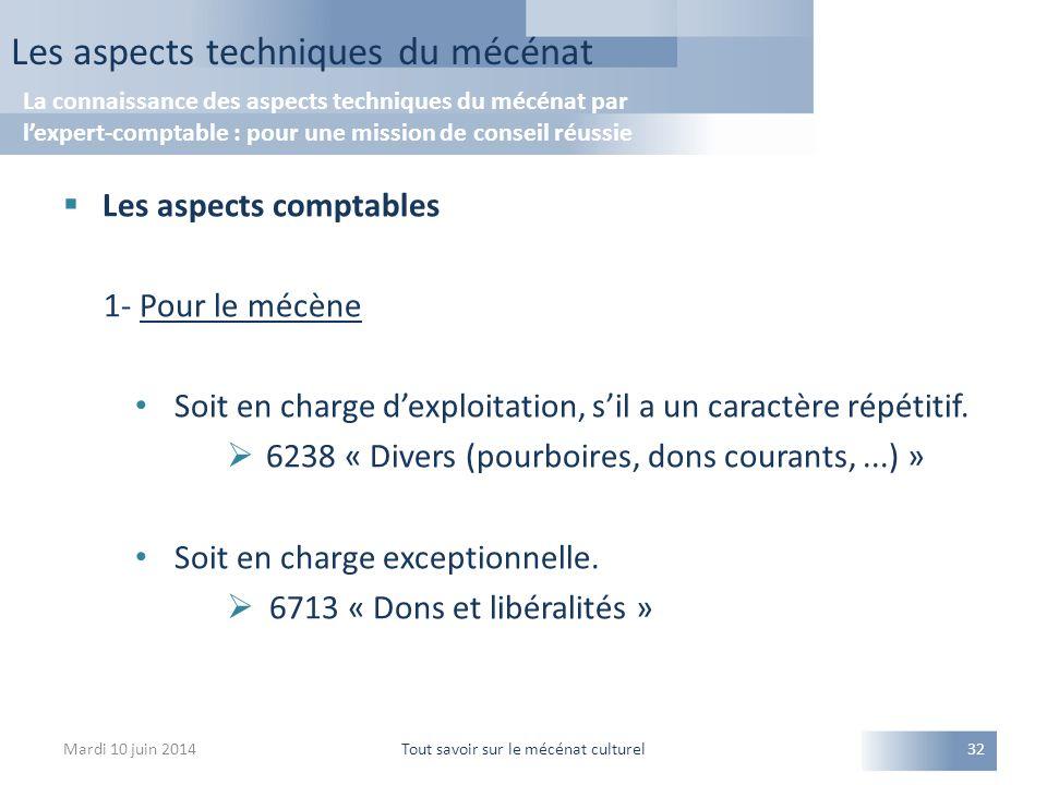  Les aspects comptables 1- Pour le mécène Soit en charge d'exploitation, s'il a un caractère répétitif.  6238 « Divers (pourboires, dons courants,..