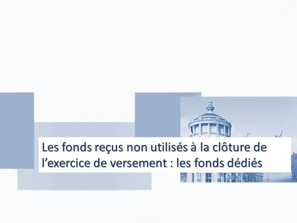 Les fonds reçus non utilisés à la clôture de l'exercice de versement : les fonds dédiés 34