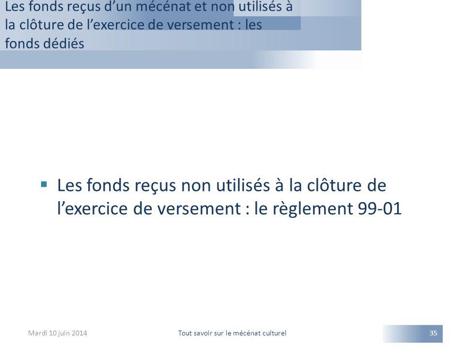 Les fonds reçus d'un mécénat et non utilisés à la clôture de l'exercice de versement : les fonds dédiés Mardi 10 juin 2014Tout savoir sur le mécénat c