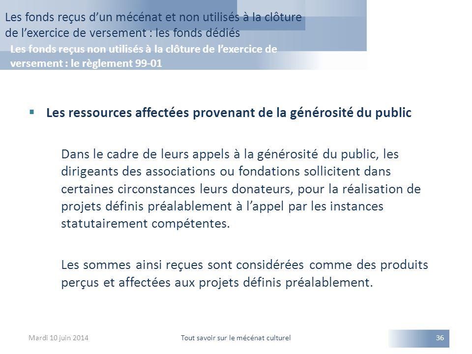  Les ressources affectées provenant de la générosité du public Dans le cadre de leurs appels à la générosité du public, les dirigeants des associatio