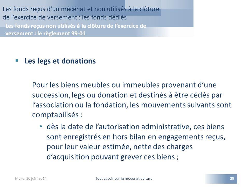  Les legs et donations Pour les biens meubles ou immeubles provenant d'une succession, legs ou donation et destinés à être cédés par l'association ou