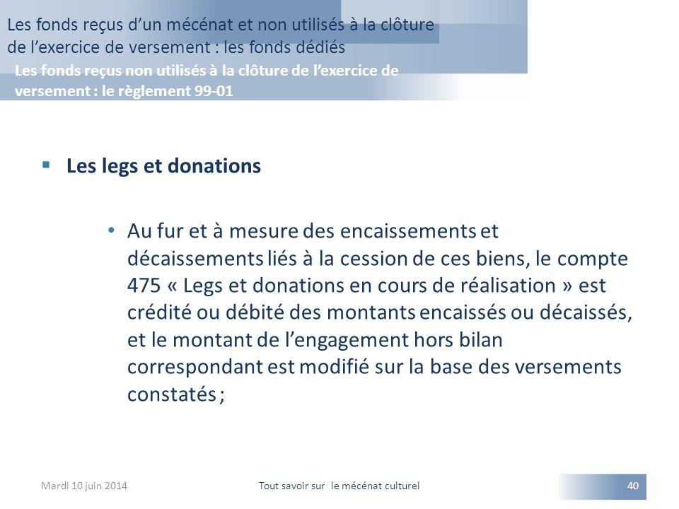  Les legs et donations Au fur et à mesure des encaissements et décaissements liés à la cession de ces biens, le compte 475 « Legs et donations en cou