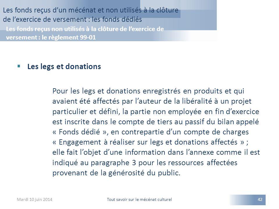  Les legs et donations Pour les legs et donations enregistrés en produits et qui avaient été affectés par l'auteur de la libéralité à un projet parti