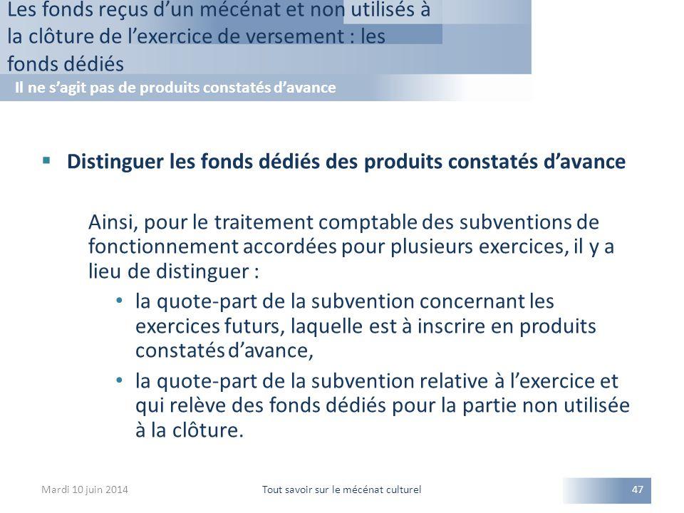  Distinguer les fonds dédiés des produits constatés d'avance Ainsi, pour le traitement comptable des subventions de fonctionnement accordées pour plu