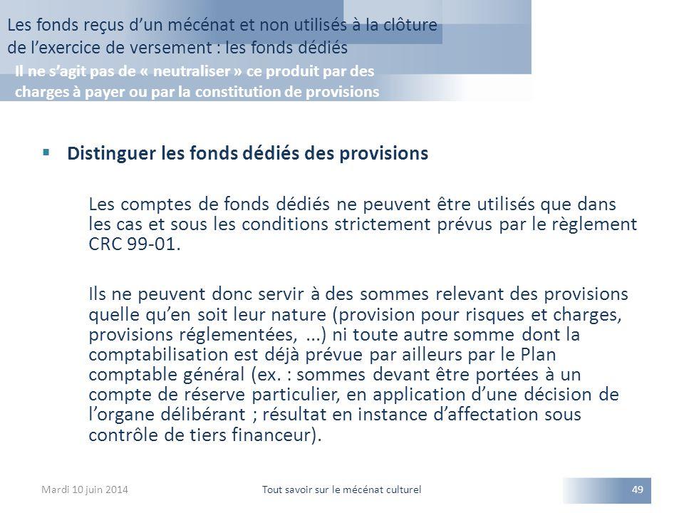  Distinguer les fonds dédiés des provisions Les comptes de fonds dédiés ne peuvent être utilisés que dans les cas et sous les conditions strictement prévus par le règlement CRC 99-01.