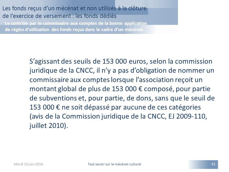 S'agissant des seuils de 153 000 euros, selon la commission juridique de la CNCC, il n'y a pas d'obligation de nommer un commissaire aux comptes lorsque l'association reçoit un montant global de plus de 153 000 € composé, pour partie de subventions et, pour partie, de dons, sans que le seuil de 153 000 € ne soit dépassé par aucune de ces catégories (avis de la Commission juridique de la CNCC, EJ 2009-110, juillet 2010).