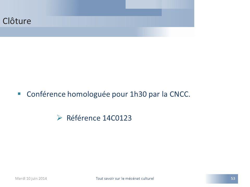 Clôture Mardi 10 juin 2014Tout savoir sur le mécénat culturel53  Conférence homologuée pour 1h30 par la CNCC.  Référence 14C0123