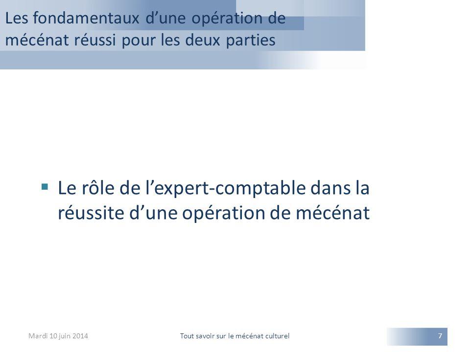 Les fondamentaux d'une opération de mécénat réussi pour les deux parties Mardi 10 juin 2014Tout savoir sur le mécénat culturel7  Le rôle de l'expert-comptable dans la réussite d'une opération de mécénat