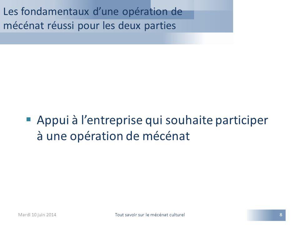 Mardi 10 juin 2014Tout savoir sur le mécénat culturel8  Appui à l'entreprise qui souhaite participer à une opération de mécénat Les fondamentaux d'un