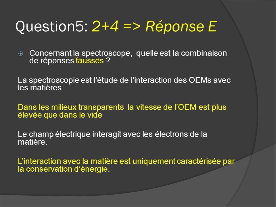 Question5: 2+4 => Réponse E  Concernant la spectroscope, quelle est la combinaison de réponses fausses ? La spectroscopie est l'étude de l'interactio