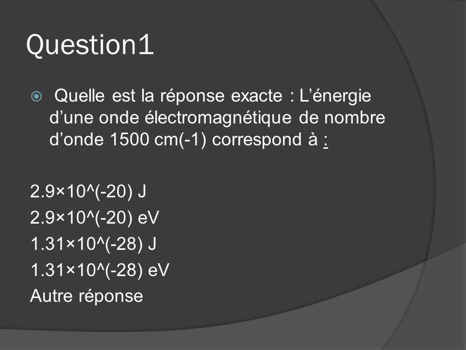 Question1  Quelle est la réponse exacte : L'énergie d'une onde électromagnétique de nombre d'onde 1500 cm(-1) correspond à : 2.9×10^(-20) J 2.9×10^(-