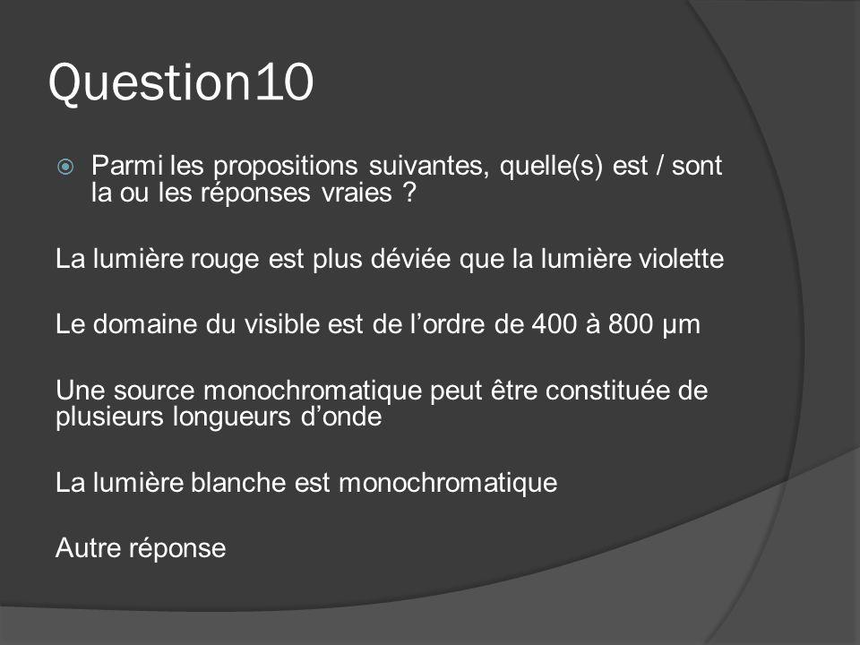 Question10  Parmi les propositions suivantes, quelle(s) est / sont la ou les réponses vraies ? La lumière rouge est plus déviée que la lumière violet