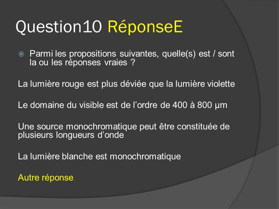 Question10 RéponseE  Parmi les propositions suivantes, quelle(s) est / sont la ou les réponses vraies ? La lumière rouge est plus déviée que la lumiè