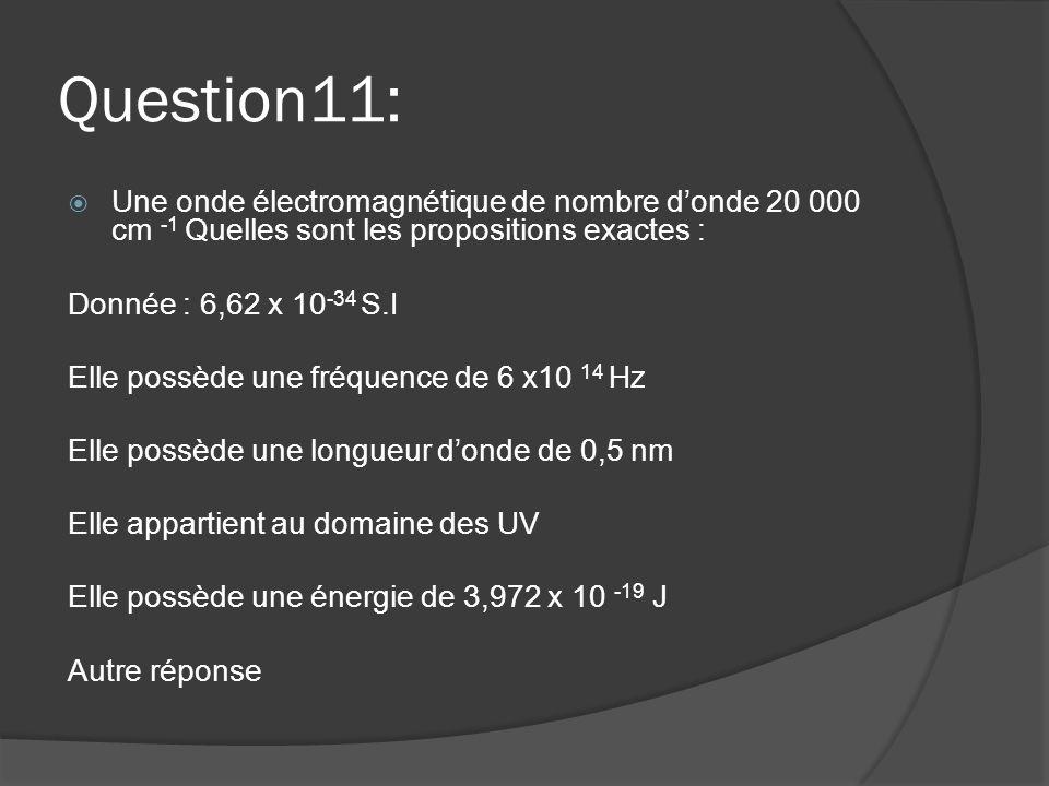 Question11:  Une onde électromagnétique de nombre d'onde 20 000 cm -1 Quelles sont les propositions exactes : Donnée : 6,62 x 10 -34 S.I Elle possède