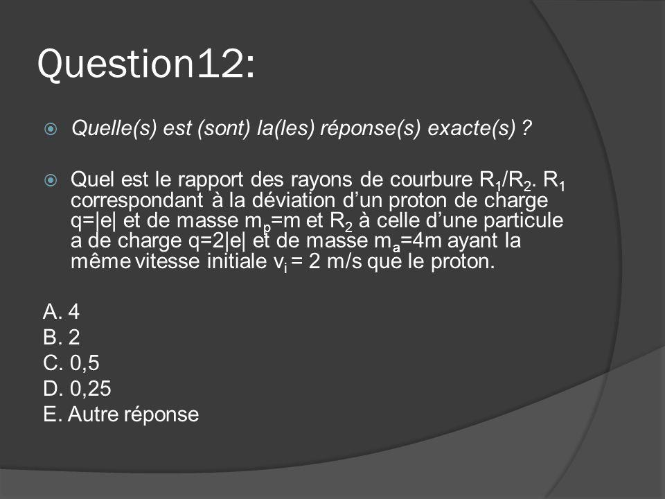 Question12:  Quelle(s) est (sont) la(les) réponse(s) exacte(s) ?  Quel est le rapport des rayons de courbure R 1 /R 2. R 1 correspondant à la déviat