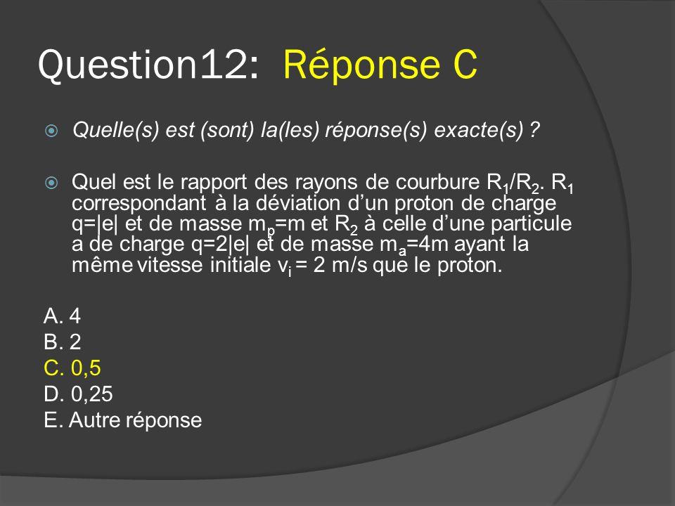 Question12: Réponse C  Quelle(s) est (sont) la(les) réponse(s) exacte(s) ?  Quel est le rapport des rayons de courbure R 1 /R 2. R 1 correspondant à
