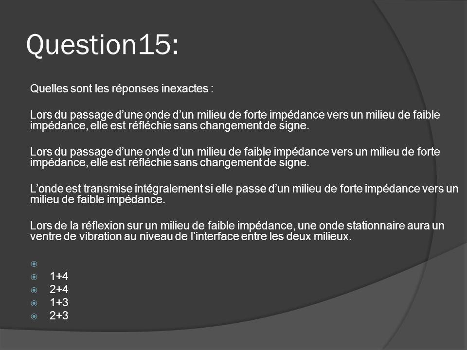 Question15: Quelles sont les réponses inexactes : Lors du passage d'une onde d'un milieu de forte impédance vers un milieu de faible impédance, elle e
