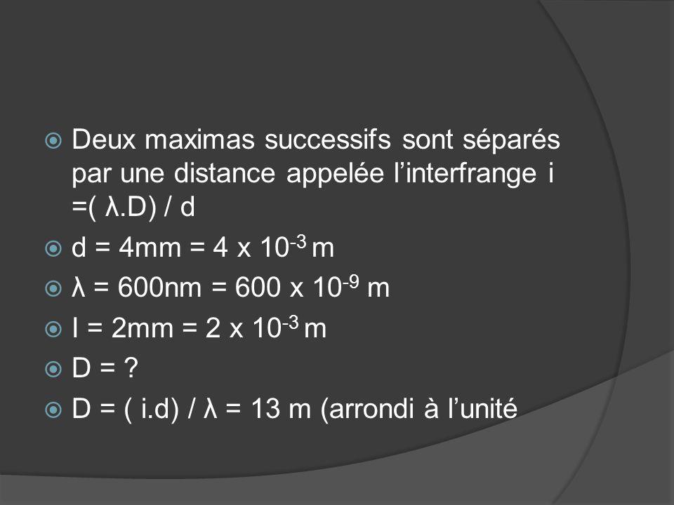  Deux maximas successifs sont séparés par une distance appelée l'interfrange i =( λ.D) / d  d = 4mm = 4 x 10 -3 m  λ = 600nm = 600 x 10 -9 m  I =