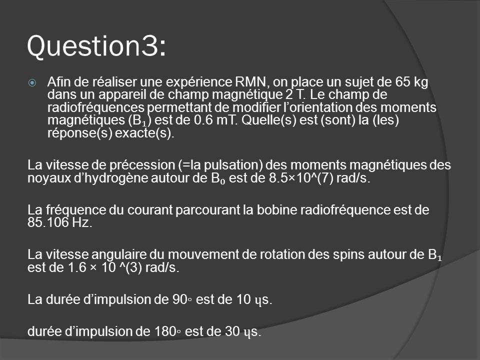 Question3:  Afin de réaliser une expérience RMN, on place un sujet de 65 kg dans un appareil de champ magnétique 2 T. Le champ de radiofréquences per