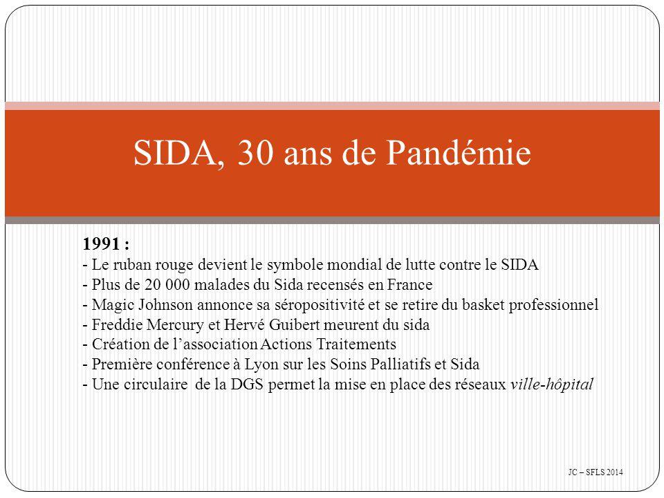 1991 : - Le ruban rouge devient le symbole mondial de lutte contre le SIDA - Plus de 20 000 malades du Sida recensés en France - Magic Johnson annonce sa séropositivité et se retire du basket professionnel - Freddie Mercury et Hervé Guibert meurent du sida - Création de l'association Actions Traitements - Première conférence à Lyon sur les Soins Palliatifs et Sida - Une circulaire de la DGS permet la mise en place des réseaux ville-hôpital SIDA, 30 ans de Pandémie JC – SFLS 2014