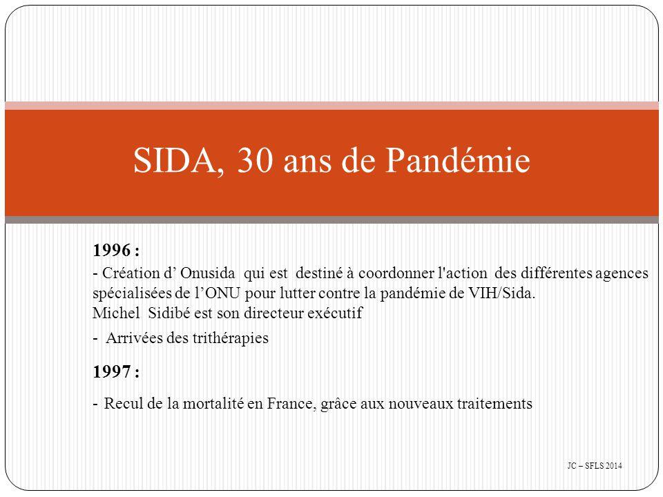 1996 : - Création d' Onusida qui est destiné à coordonner l action des différentes agences spécialisées de l'ONU pour lutter contre la pandémie de VIH/Sida.