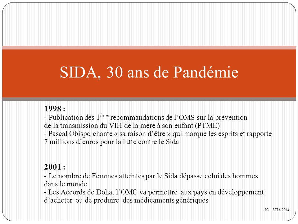 1998 : - Publication des 1 ères recommandations de l'OMS sur la prévention de la transmission du VIH de la mère à son enfant (PTME) - Pascal Obispo chante « sa raison d'être » qui marque les esprits et rapporte 7 millions d'euros pour la lutte contre le Sida 2001 : - Le nombre de Femmes atteintes par le Sida dépasse celui des hommes dans le monde - Les Accords de Doha, l'OMC va permettre aux pays en développement d'acheter ou de produire des médicaments génériques SIDA, 30 ans de Pandémie JC – SFLS 2014