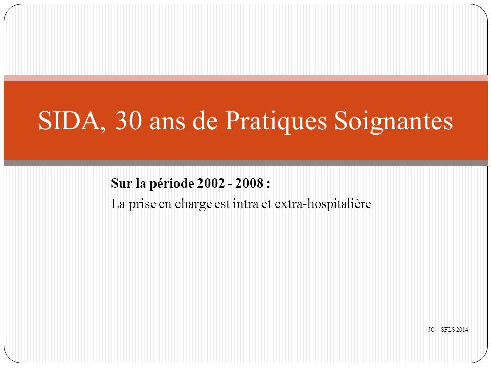 Sur la période 2002 - 2008 : La prise en charge est intra et extra-hospitalière SIDA, 30 ans de Pratiques Soignantes JC – SFLS 2014