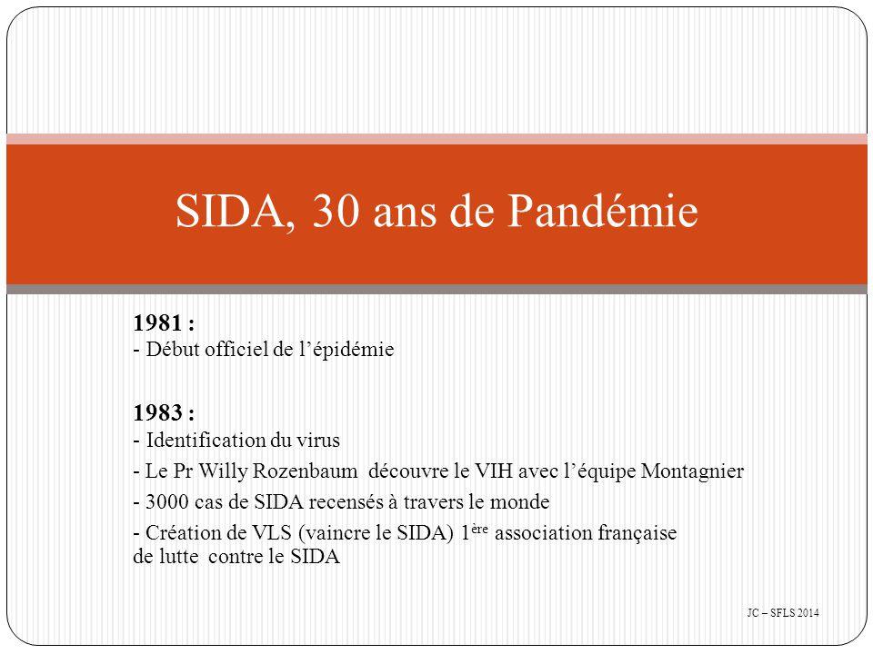 1981 : - Début officiel de l'épidémie 1983 : - Identification du virus - Le Pr Willy Rozenbaum découvre le VIH avec l'équipe Montagnier - 3000 cas de SIDA recensés à travers le monde - Création de VLS (vaincre le SIDA) 1 ère association française de lutte contre le SIDA SIDA, 30 ans de Pandémie JC – SFLS 2014