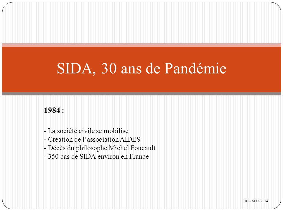 1984 : - La société civile se mobilise - Création de l'association AIDES - Décès du philosophe Michel Foucault - 350 cas de SIDA environ en France SIDA, 30 ans de Pandémie JC – SFLS 2014