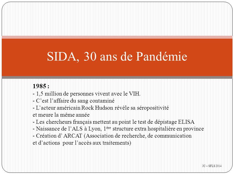 1986 : - Mise au point du premier médicament, l'azidovudine (AZT) - Le SIDA devient une maladie à déclaration obligatoire - Création en image de synthèse de la représentation symbolique du virus : l'Oursin, utilisé dans le monde entier 1987 : - Création des CISIH (Centre Hospitalier d' Information et de Soins de l' Immunodéficience Humaine) - Création d' ACT-UP à New York - Autorisation de mise sur le marché de l'AZT en France SIDA, 30 ans de Pandémie JC – SFLS 2014