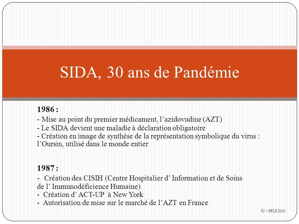 2002 : - Naissance de plusieurs outils d'aide à l'observance : * Mettre en place une consultation d'observance aux traitements contre le VIH/SIDA ( éditions COMMENT DIRE) * Observance et VIH : visualiser les prescriptions (cédérom créé par ALS et BMS) * Observance et VIH : avant de commencer un traitement (Drs Retornaz, Livrozet, Gelas) SIDA, 30 ans de Pandémie JC – SFLS 2014
