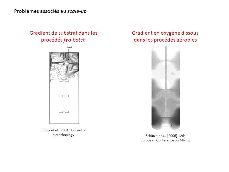 Gradient de substrat dans les procédés fed-batch Enfors et al. [2001] Journal of biotechnology Gradient en oxygène dissous dans les procédés aérobies