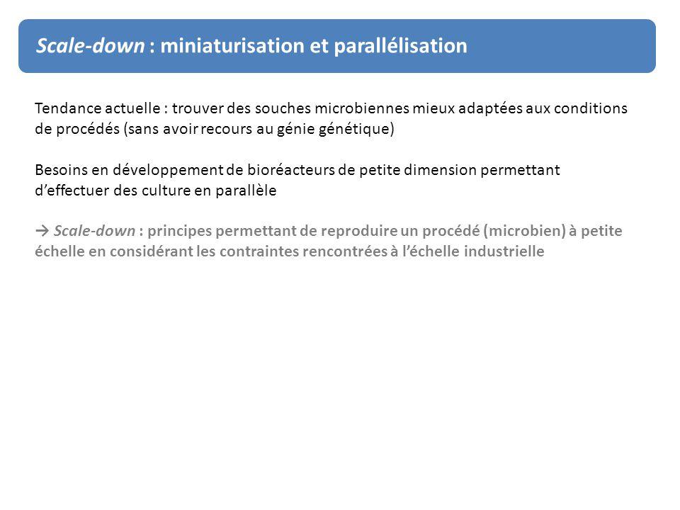 Scale-down : miniaturisation et parallélisation Tendance actuelle : trouver des souches microbiennes mieux adaptées aux conditions de procédés (sans a