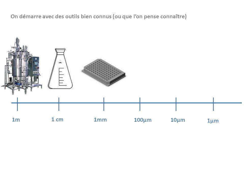 1m 1 cm 1mm 100µm10µm 1µm On démarre avec des outils bien connus (ou que l'on pense connaître)