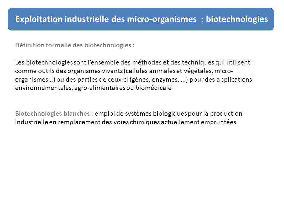 Exploitation industrielle des micro-organismes : biotechnologies Définition formelle des biotechnologies : Les biotechnologies sont l'ensemble des mét