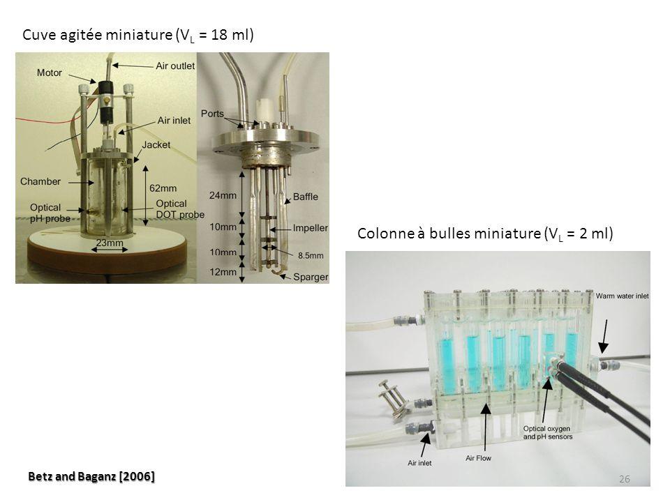 Cuve agitée miniature (V L = 18 ml) Colonne à bulles miniature (V L = 2 ml) Betz and Baganz [2006] 26