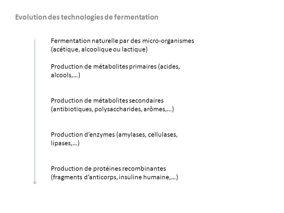 Fermentation naturelle par des micro-organismes (acétique, alcoolique ou lactique) Production de métabolites primaires (acides, alcools,…) Production de métabolites secondaires (antibiotiques, polysaccharides, arômes,…) Production d'enzymes (amylases, cellulases, lipases,…) Production de protéines recombinantes (fragments d'anticorps, insuline humaine,…) Evolution des technologies de fermentation