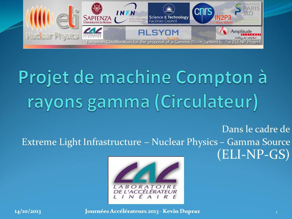 Dans le cadre de Extreme Light Infrastructure – Nuclear Physics – Gamma Source (ELI-NP-GS) 1 14/10/2013Journées Accélérateurs 2013 - Kevin Dupraz