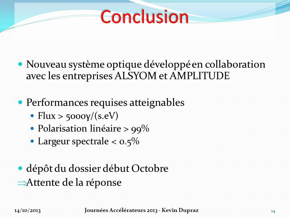 Conclusion Nouveau système optique développé en collaboration avec les entreprises ALSYOM et AMPLITUDE Performances requises atteignables Flux > 5000γ