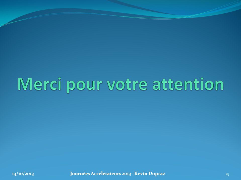 14/10/2013Journées Accélérateurs 2013 - Kevin Dupraz 15