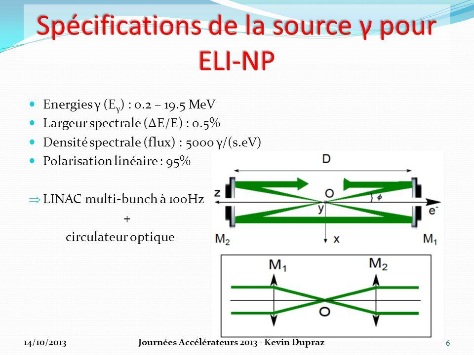 Design général de la source γ 2 points d'interactions : 1 lasers 200mJ Yb@515nm (3.5ps) par point d'interaction LINAC hybride bandes S et C (~100 – 720 MeV) 7 E e ≈ 280 MeV E e ≈ 600 MeV 14/10/2013Journées Accélérateurs 2013 - Kevin Dupraz