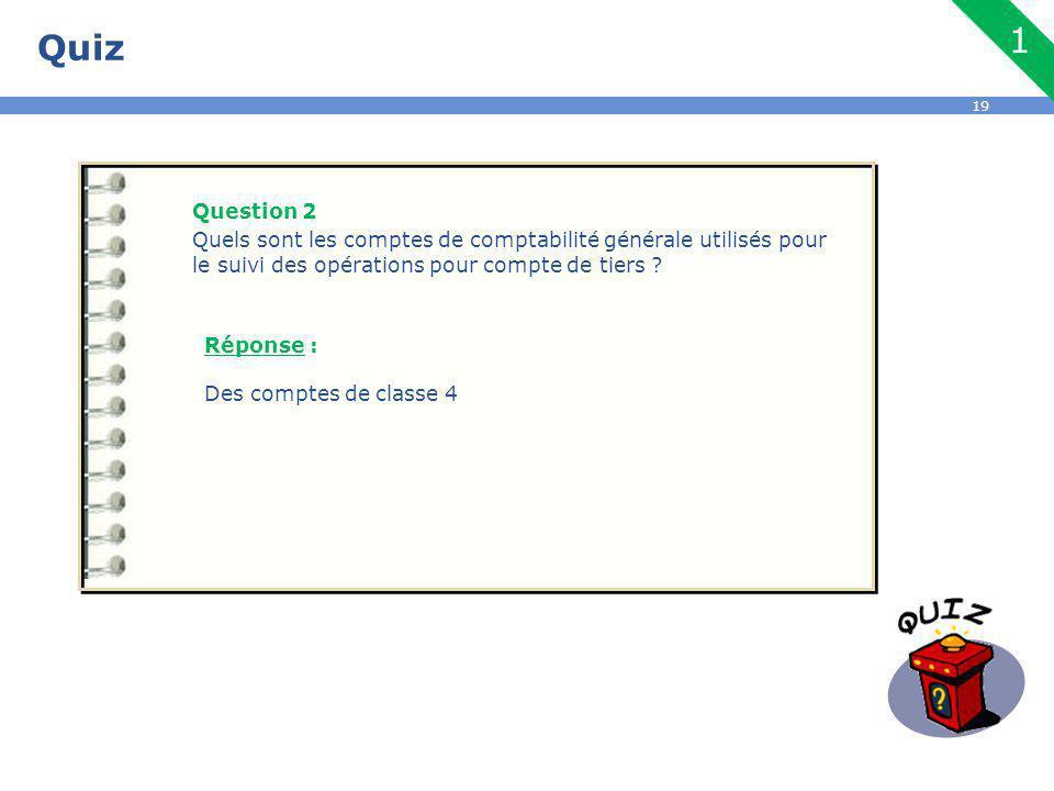 19 Quiz Question 2 Quels sont les comptes de comptabilité générale utilisés pour le suivi des opérations pour compte de tiers .