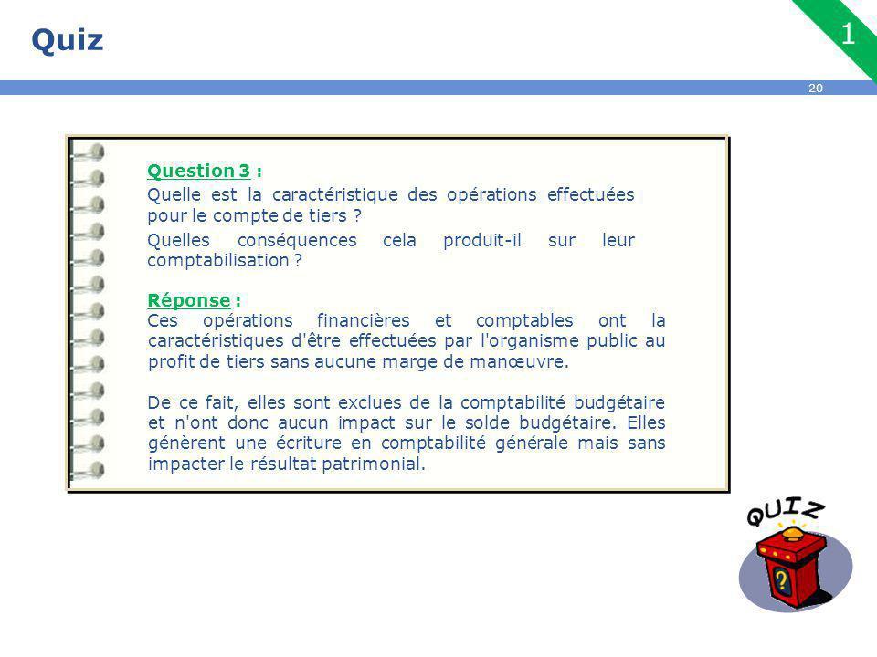 20 Quiz Question 3 : Quelle est la caractéristique des opérations effectuées pour le compte de tiers .