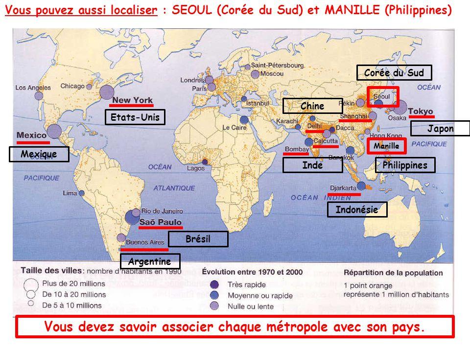 Vous devez savoir associer chaque métropole avec son pays. Etats-Unis Chine Inde Japon Indonésie Brésil Argentine Mexique Vous pouvez aussi localiser
