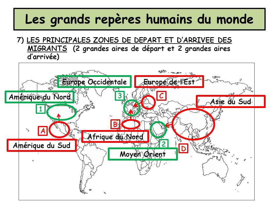 7) LES PRINCIPALES ZONES DE DEPART ET D'ARRIVEE DES MIGRANTS (2 grandes aires de départ et 2 grandes aires d'arrivée) Les grands repères humains du mo