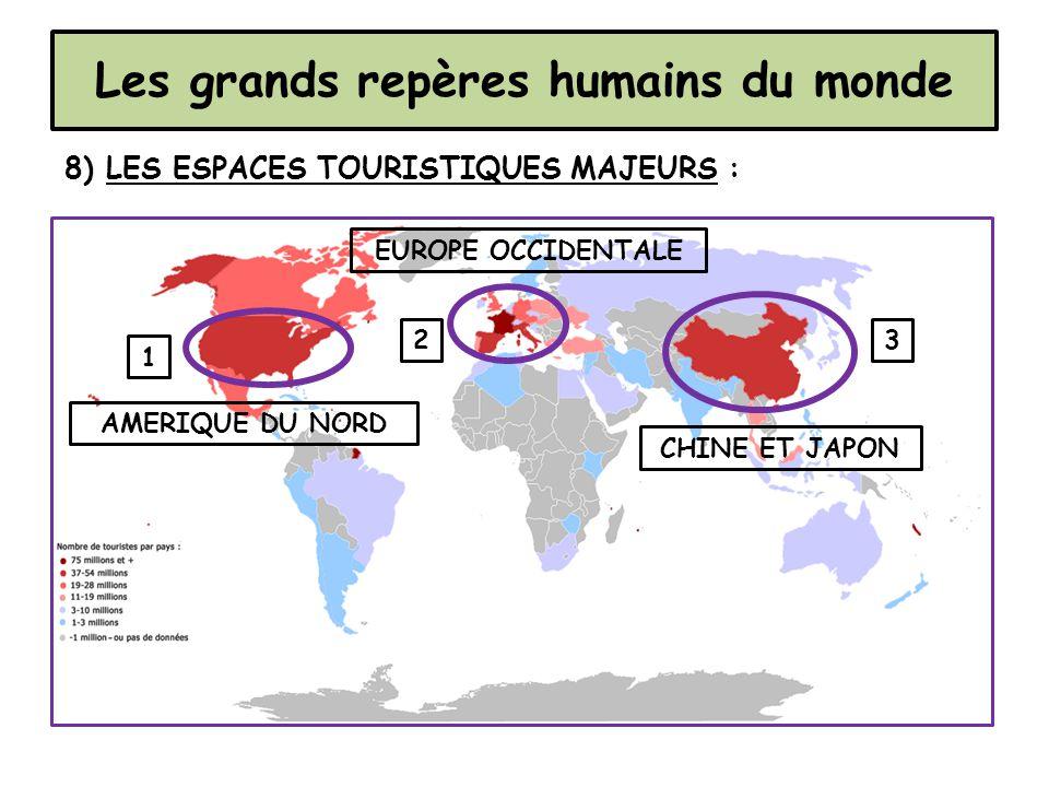 Les grands repères humains du monde 8) LES ESPACES TOURISTIQUES MAJEURS : 1 23 CHINE ET JAPON EUROPE OCCIDENTALE AMERIQUE DU NORD
