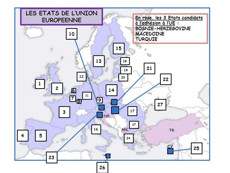 13 15 1 2 4 27 20 11 12 14 5 3 16 18 19 6 7 9 24 17 8 10 22 21 23 26 27 25 En rose, les 3 Etats candidats à l'adhésion à l'UE : BOSNIE-HERZEGOVINE MAC
