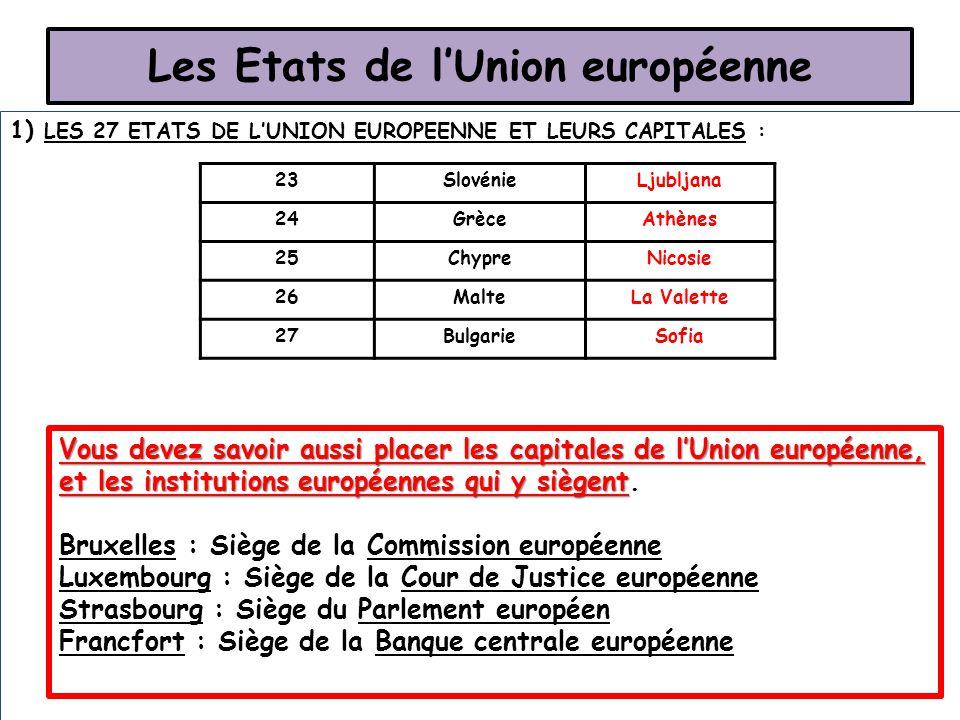 Les Etats de l'Union européenne 1) LES 27 ETATS DE L'UNION EUROPEENNE ET LEURS CAPITALES : 23SlovénieLjubljana 24GrèceAthènes 25ChypreNicosie 26MalteL