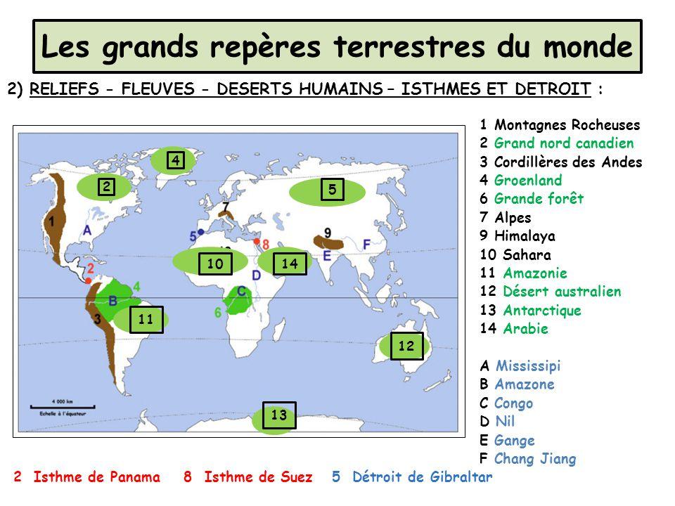 Les grands repères terrestres du monde 2) RELIEFS - FLEUVES - DESERTS HUMAINS – ISTHMES ET DETROIT : 1 Montagnes Rocheuses 2 Grand nord canadien 3 Cor