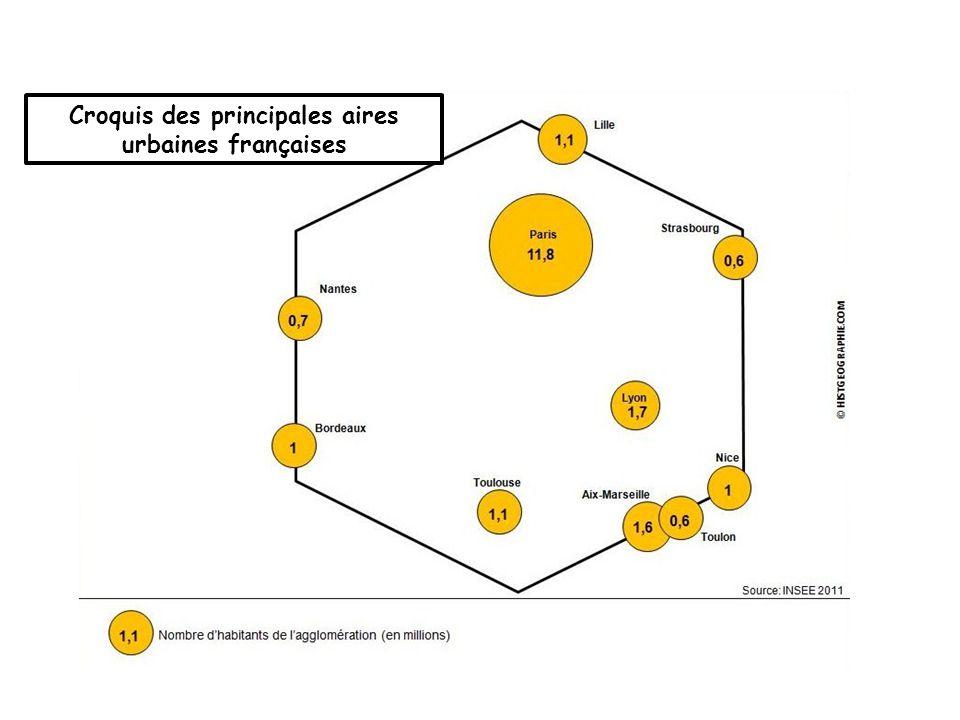 Croquis des principales aires urbaines françaises